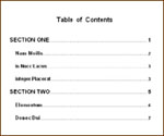 Sample Table of Contents